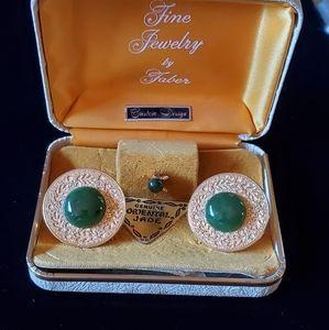 Cool 50s Jade cufflink and tie tack set